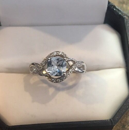 Sterling Silver Blue Topaz And Cz Ring Size 7.25