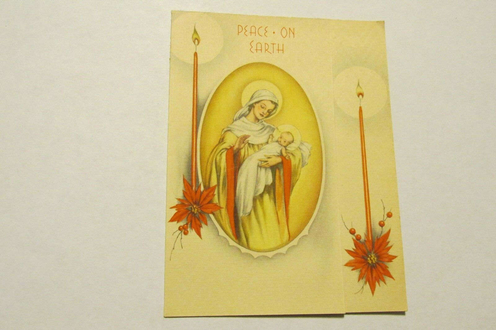 vintage xmas christmas card antique mary baby jesus candles peace
