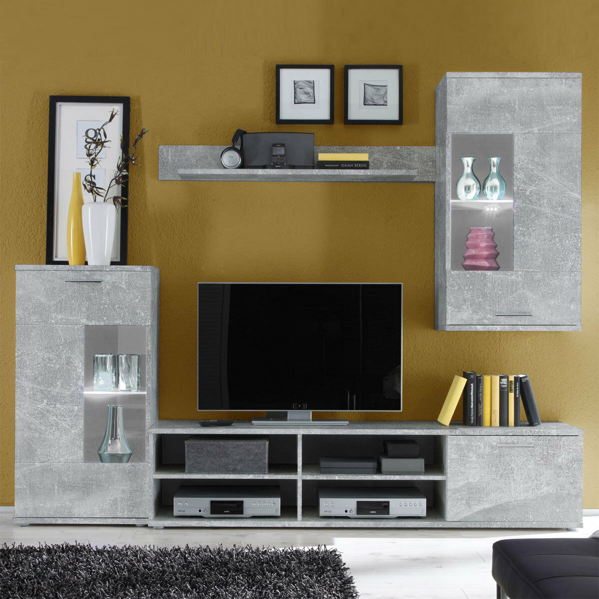 wohnwand anbauwand frontal 1 schrankwand betonoptik. Black Bedroom Furniture Sets. Home Design Ideas