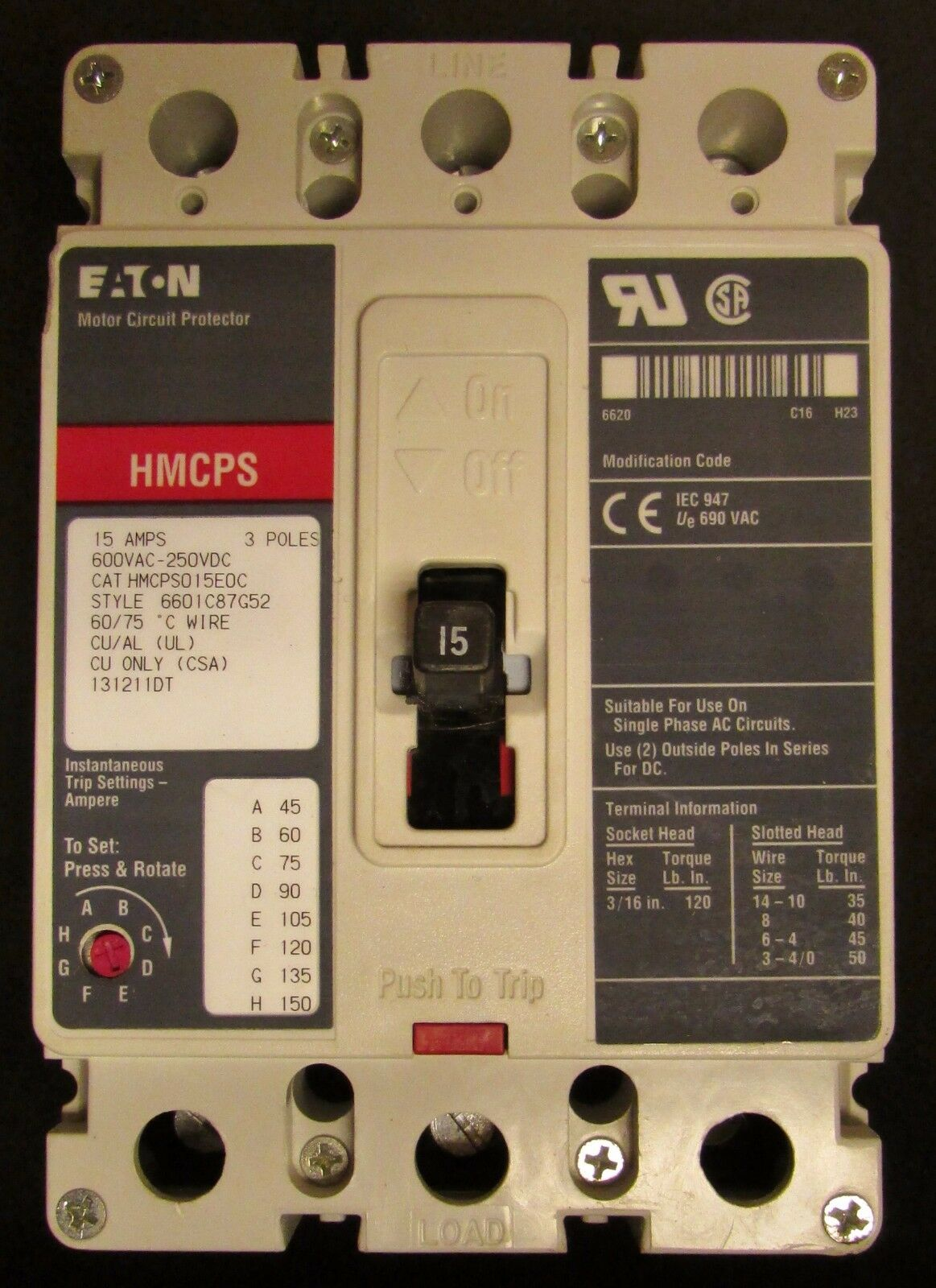 Eaton Cutler Hammer Hmcps Motor Circuit Breaker 15 Amp 3 Pole Electric Breakermotor Product On Hmcp015e0c 1 Of 3only Available