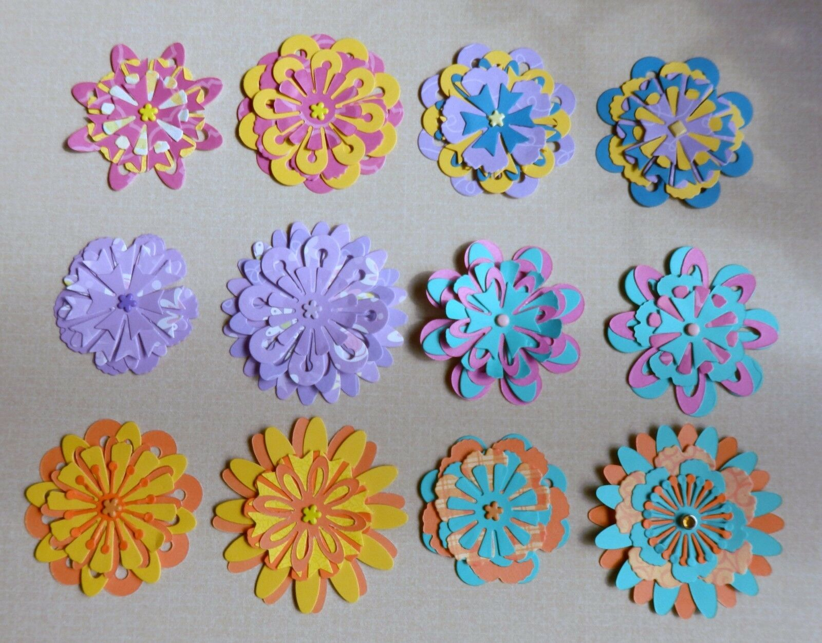 12 Handmade Layered Paper Flowers Scrapbook Layouts Card Making Home