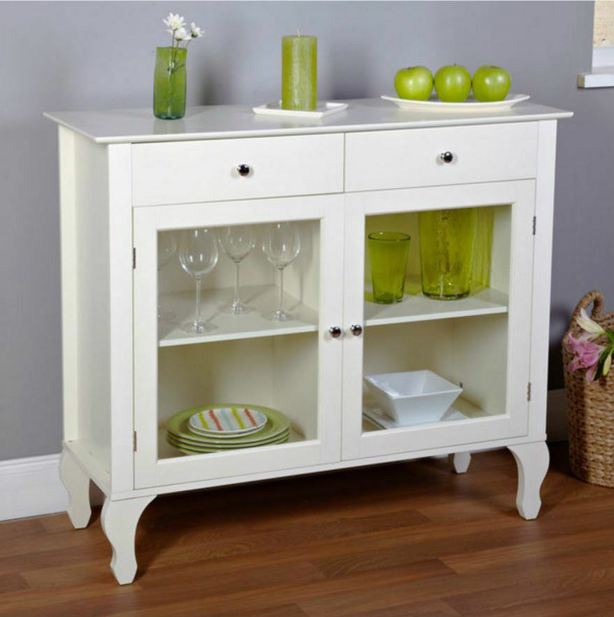 Storage Cabinet With Glass Doors Buffet Sideboard Server Table