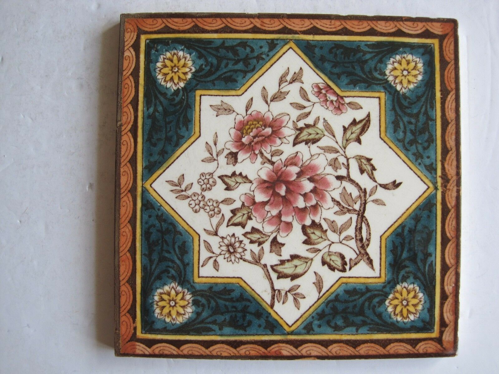 Antique Victorian Floral Print And Tint Wall Tile No 3 3 8