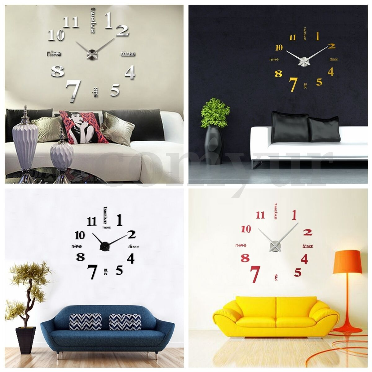 3d large wall clock mirror sticker big watch sticker home for Unique home decor uk