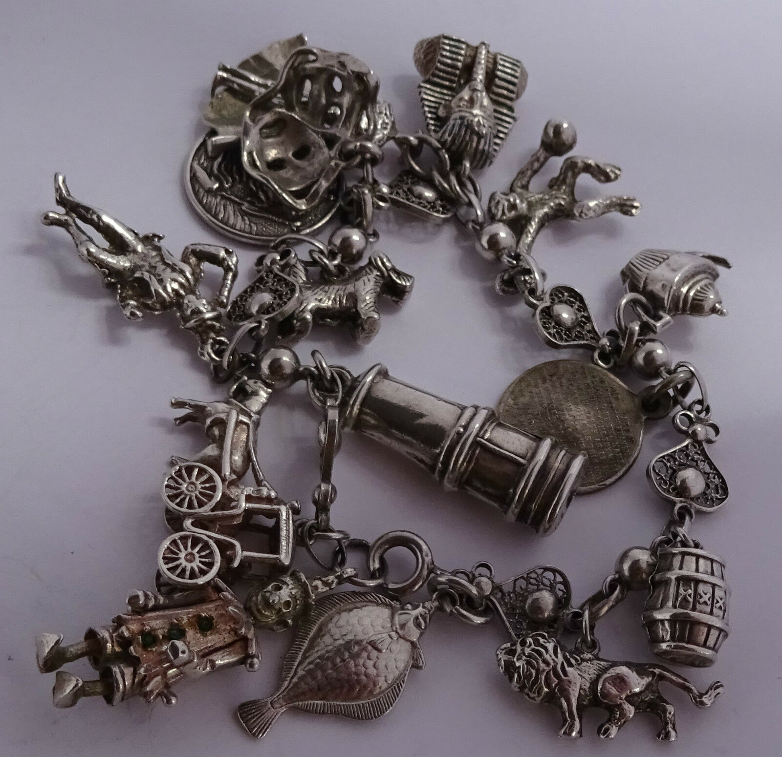 vintage solid silver charm bracelet 15 charms inc a