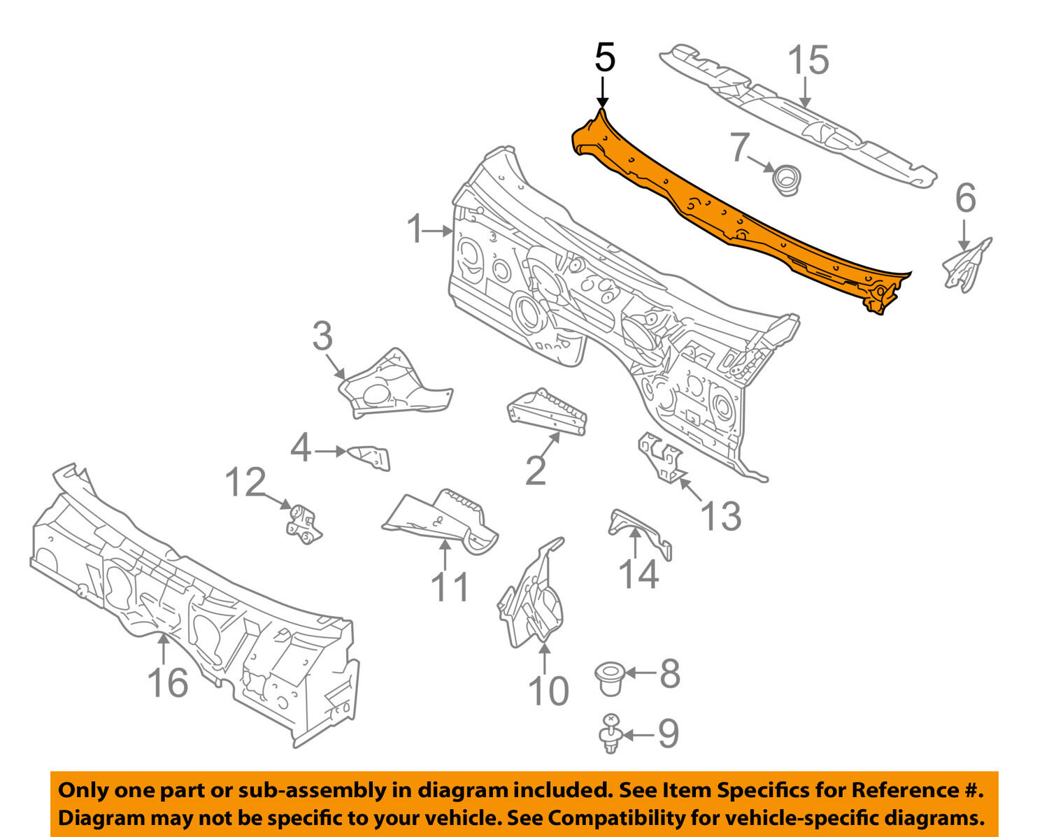 Bmw Oem 97 03 540i Cowl Panel Windshield Wiper Motor Cover 1998 Engine Diagram 1 Of 2only Available