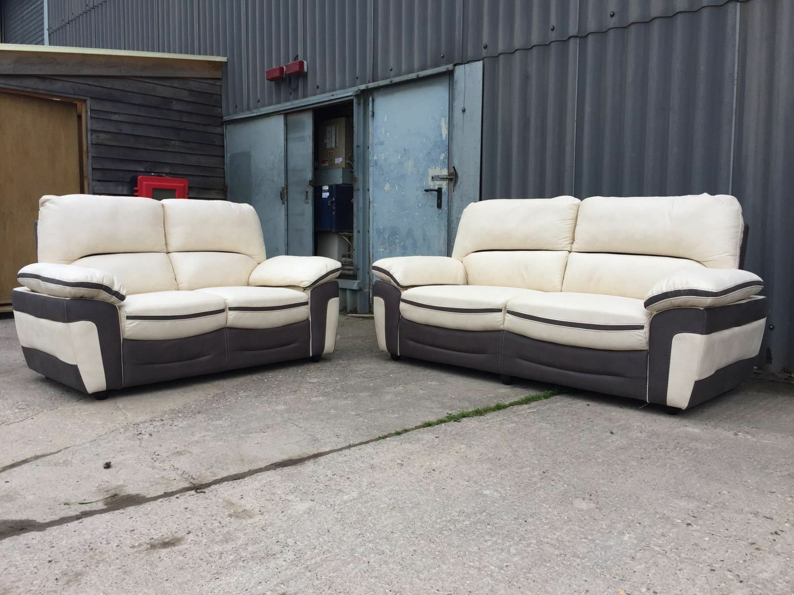 New Bari Fabric Leather Look 3 2 Seater Sofa In Cream