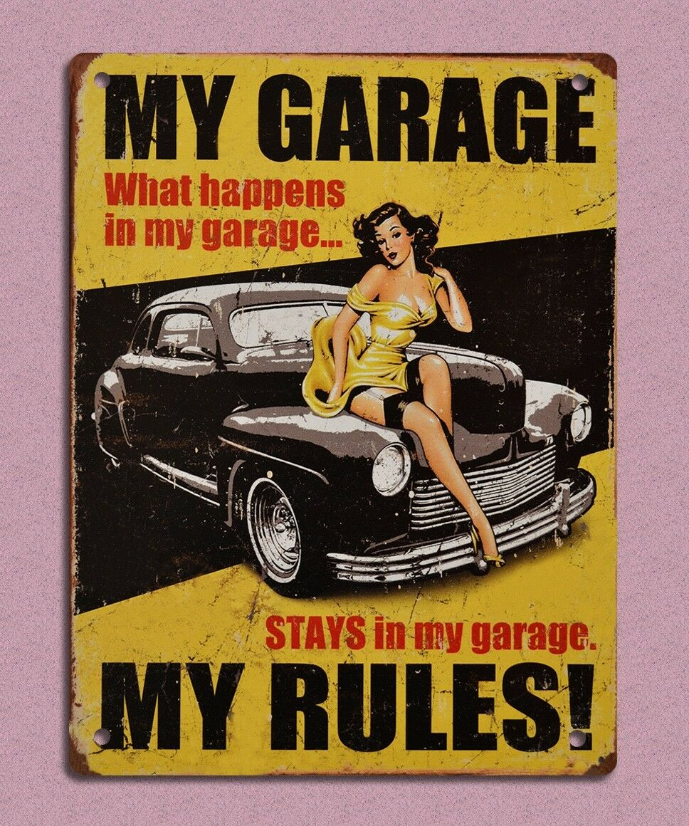 Metal sign plaque vintage retro style my garage my rules for Plaque garage w