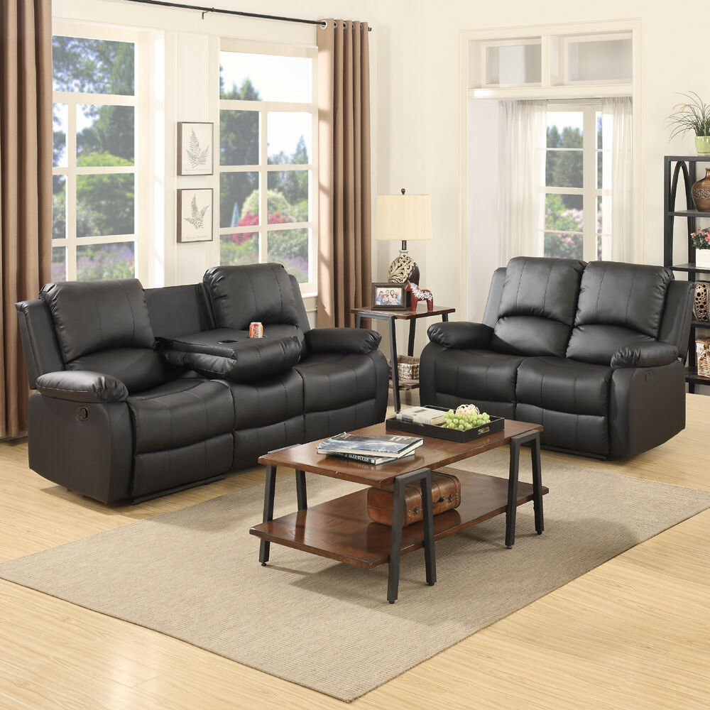 3+2 Seaters Sofa Set Loveseat Chaise Couch Recliner Black Leather Living  Room 1 Of 12FREE Shipping ...