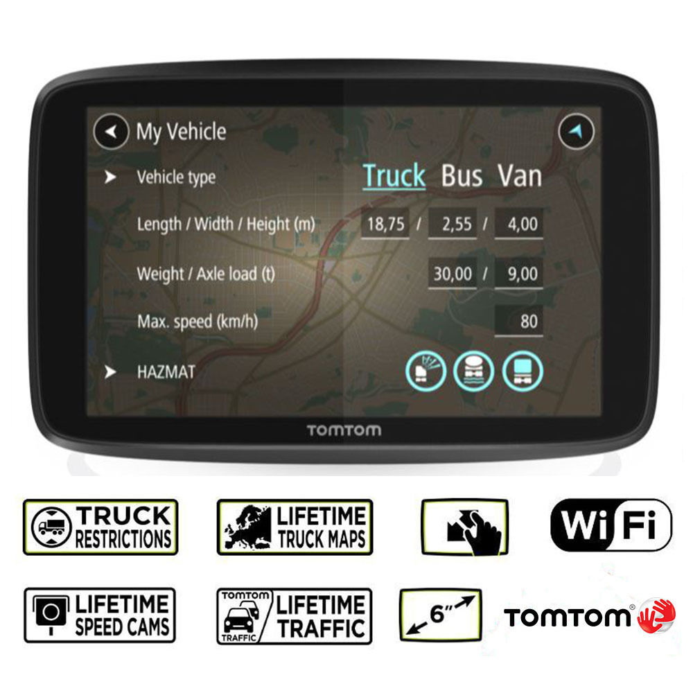 tomtom go professional 6250 trucker truck bus van lifetime traffic map updates. Black Bedroom Furniture Sets. Home Design Ideas