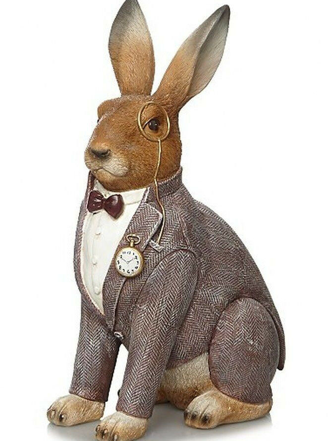 Hare rabbit bunny ornament home decor gift statue figurine for Rabbit decorations home