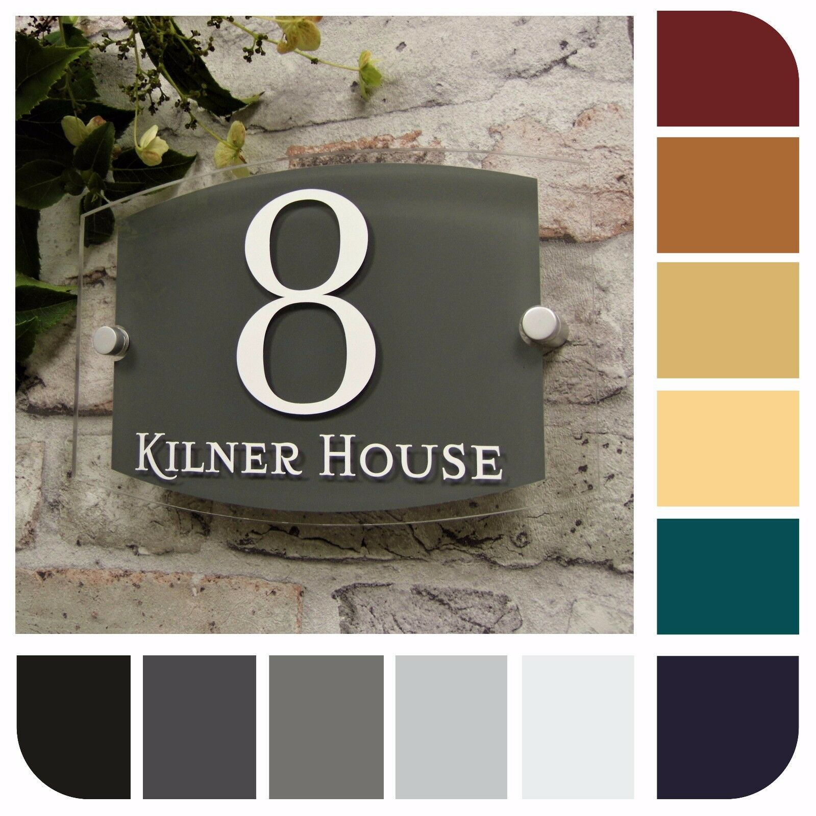 Modern house sign door number plaque street address plate for Modern house number plaques
