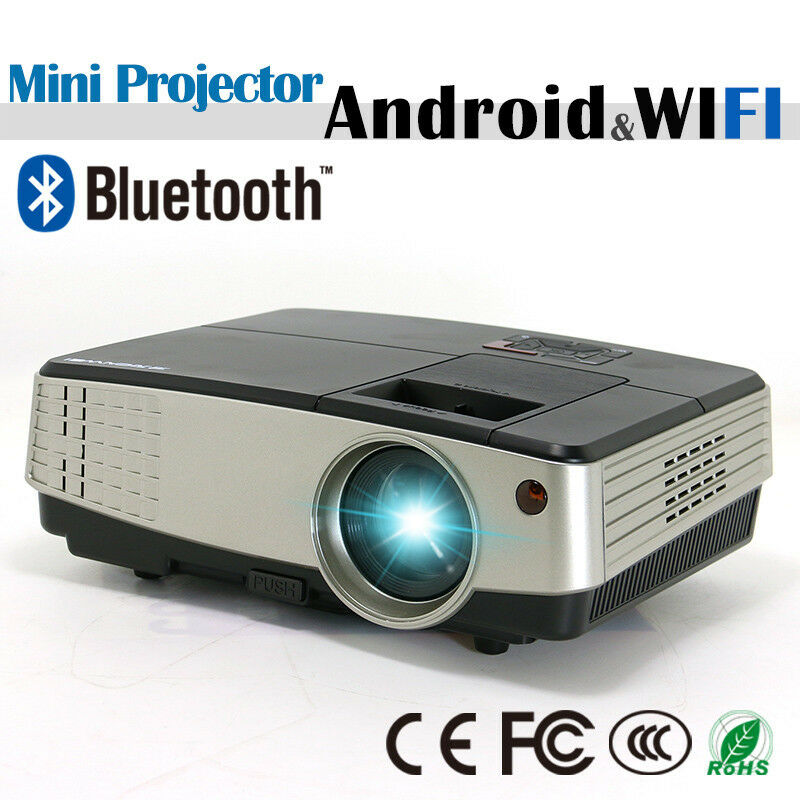 Mini portable android wifi projector for home cinema bluetooth wireless movie hd eur 174 89 for Small bluetooth projector