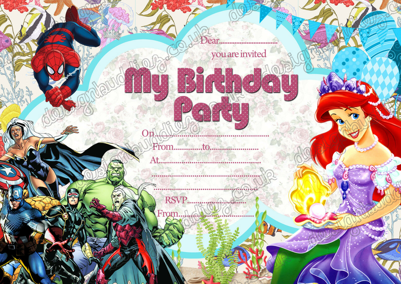 DISNEY PRINCESS ARIEL super hero birthday party invitations pack 8 ...