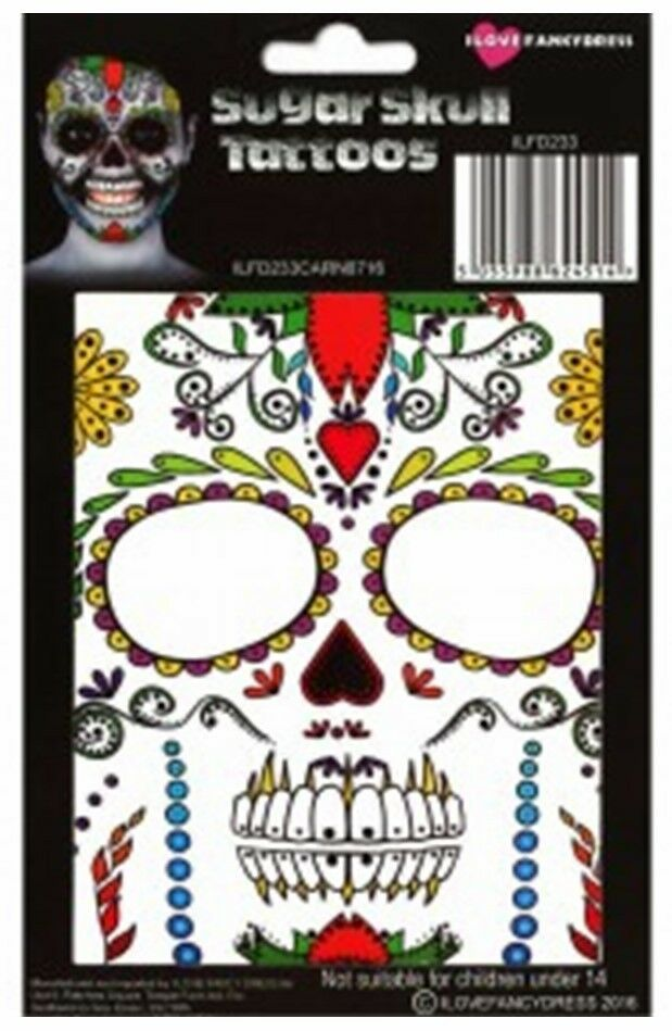 mexican day of the dead sugar skull temporary halloween face tattoo