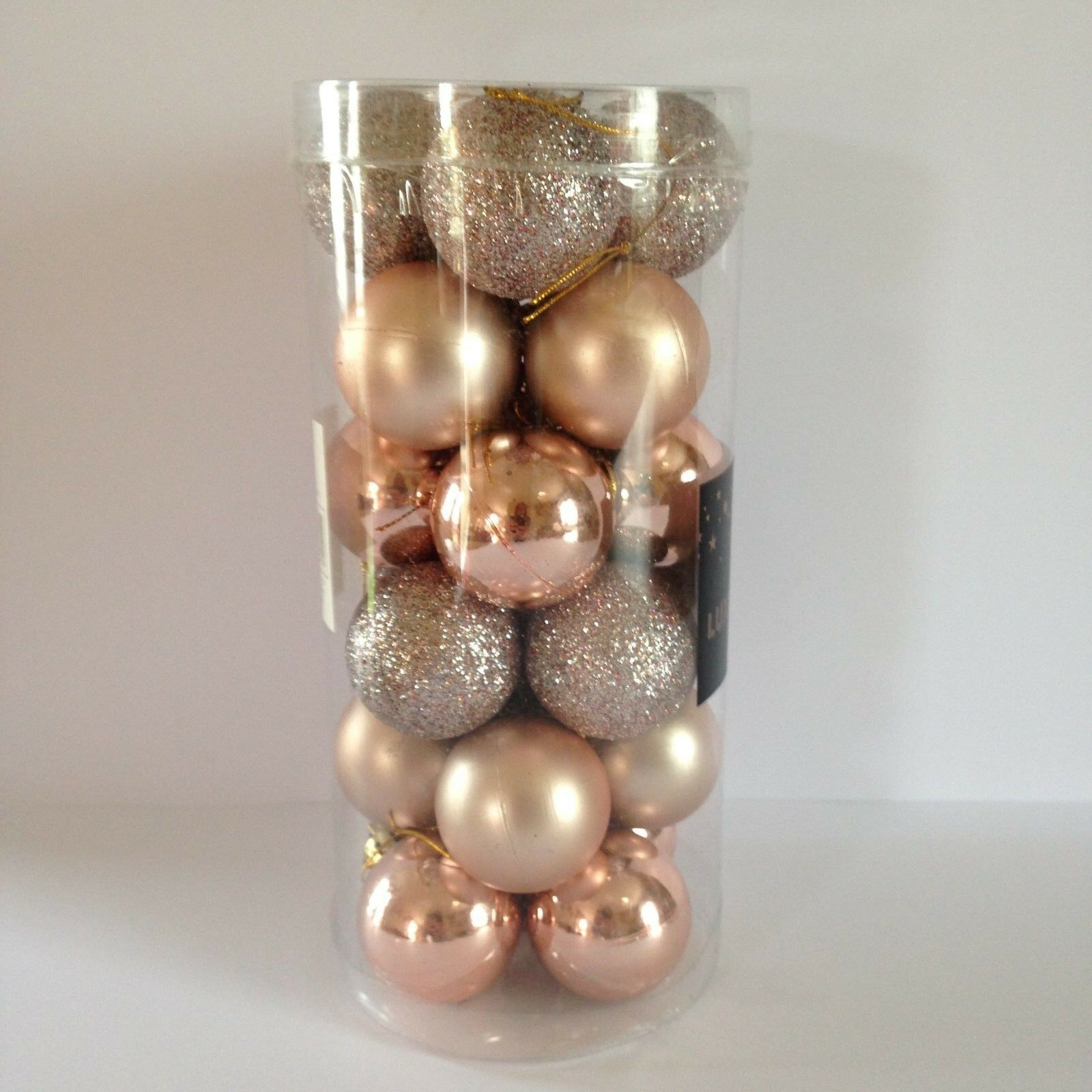 24 rose gold christmas tree baubles xmas decorations new for Decoration rose gold