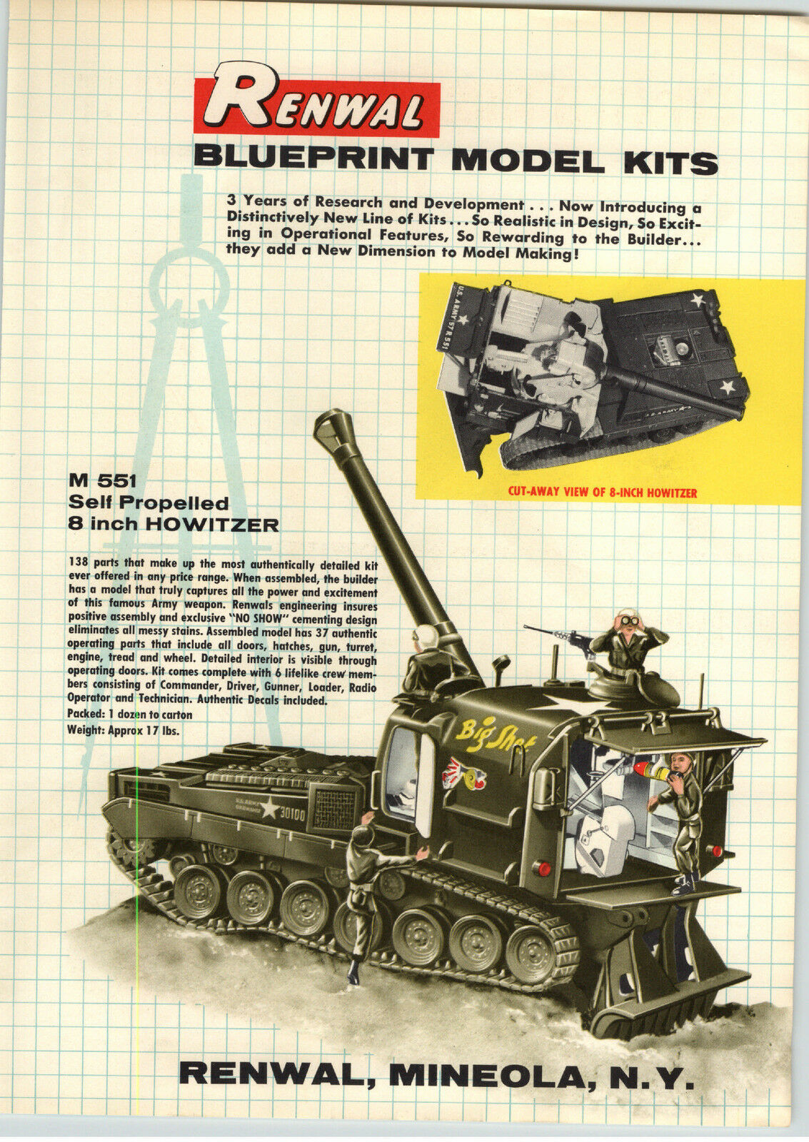 1957 paper ad 4 pg renwal blueprint model kits big shot howitzer 1 of 4only 1 available malvernweather Image collections