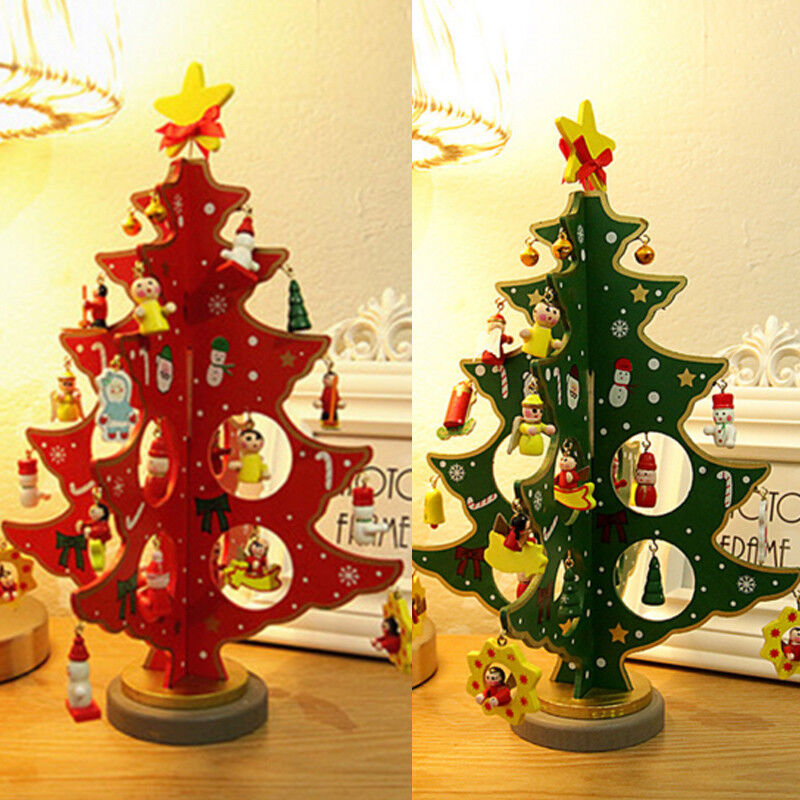 3d wooden christmas tree christmas table decoration xmas. Black Bedroom Furniture Sets. Home Design Ideas