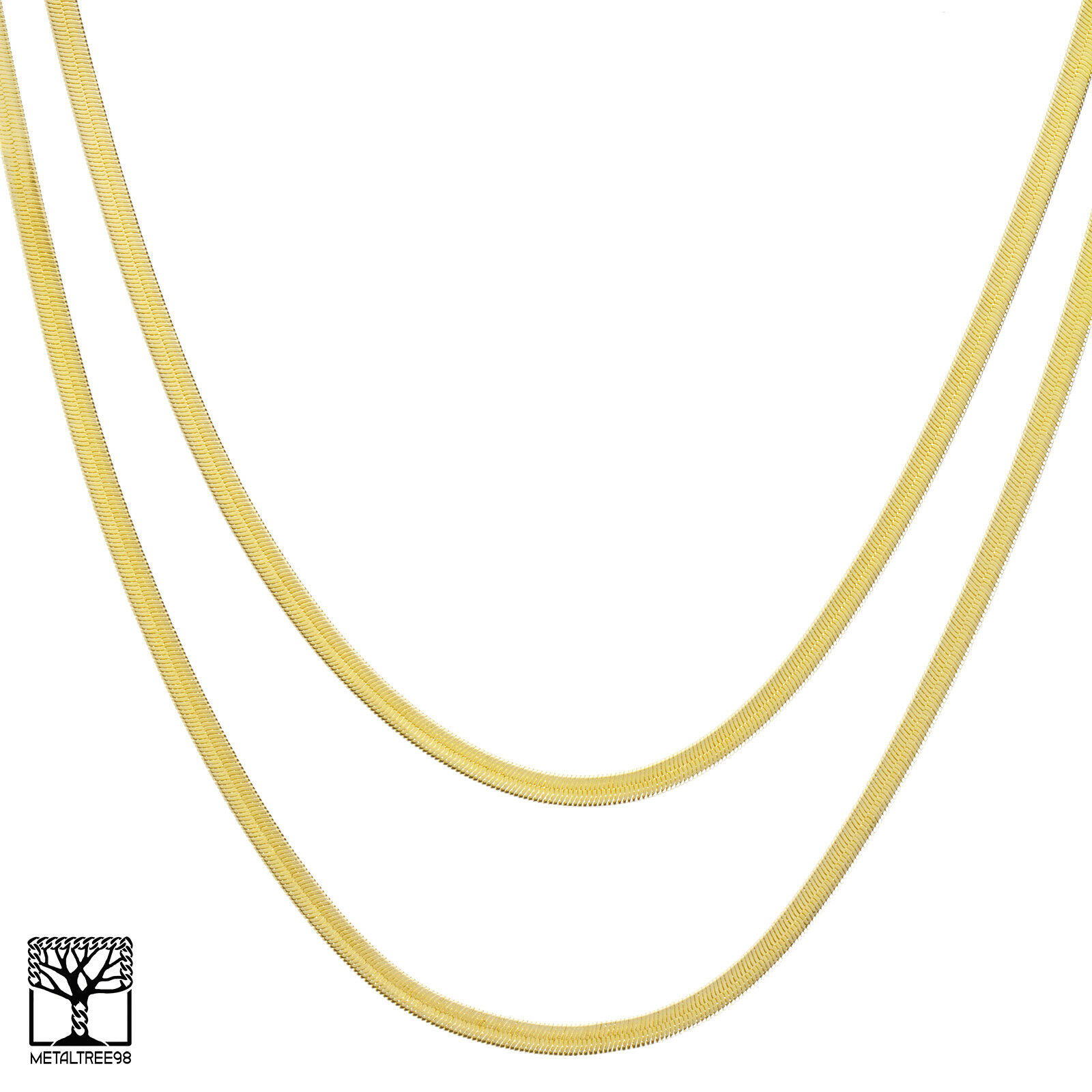 """Women/'s Herringbone 14k Gold Plated 4 to14mm Wide 20/"""" 24/"""" 30/"""" Chain Necklace"""