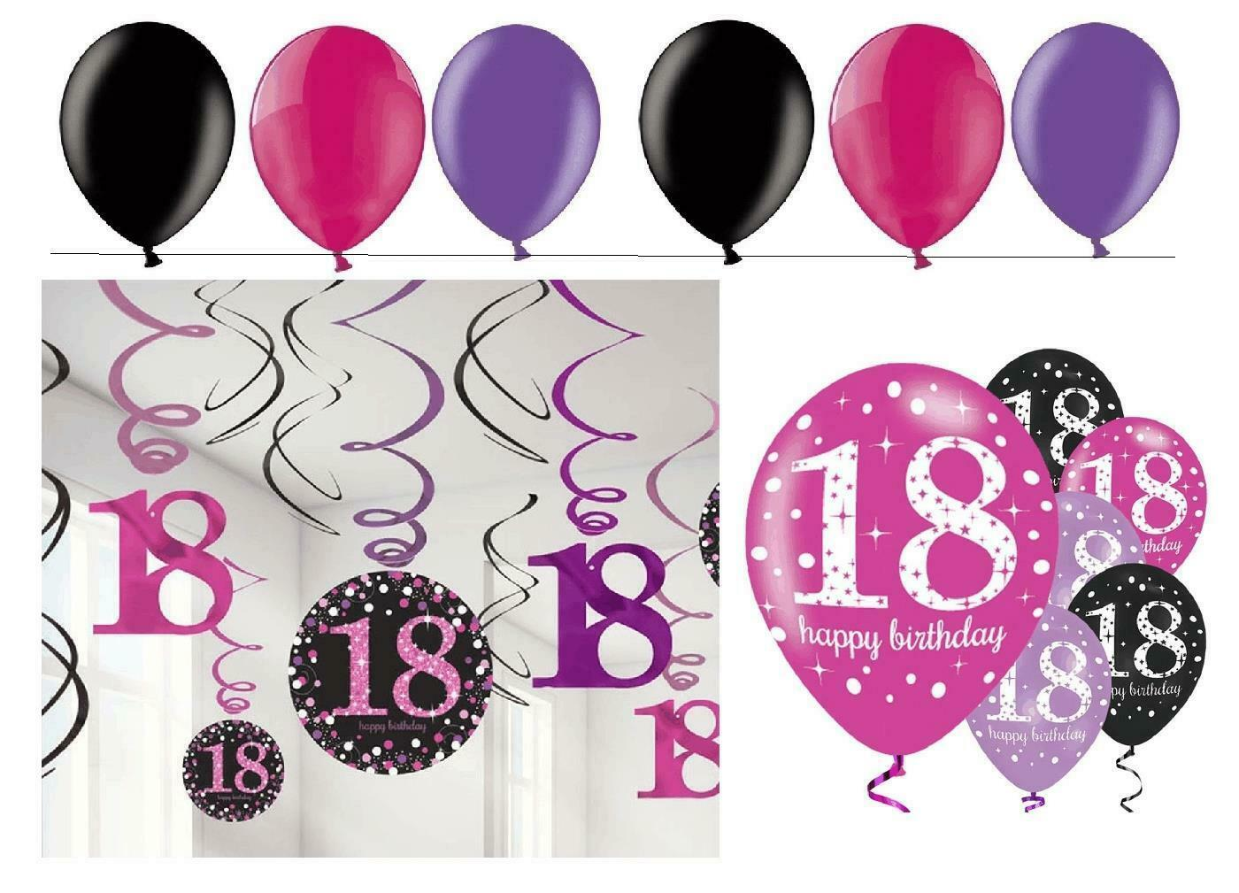 deko set spiralen luftballons zum 18 geburtstag 24. Black Bedroom Furniture Sets. Home Design Ideas