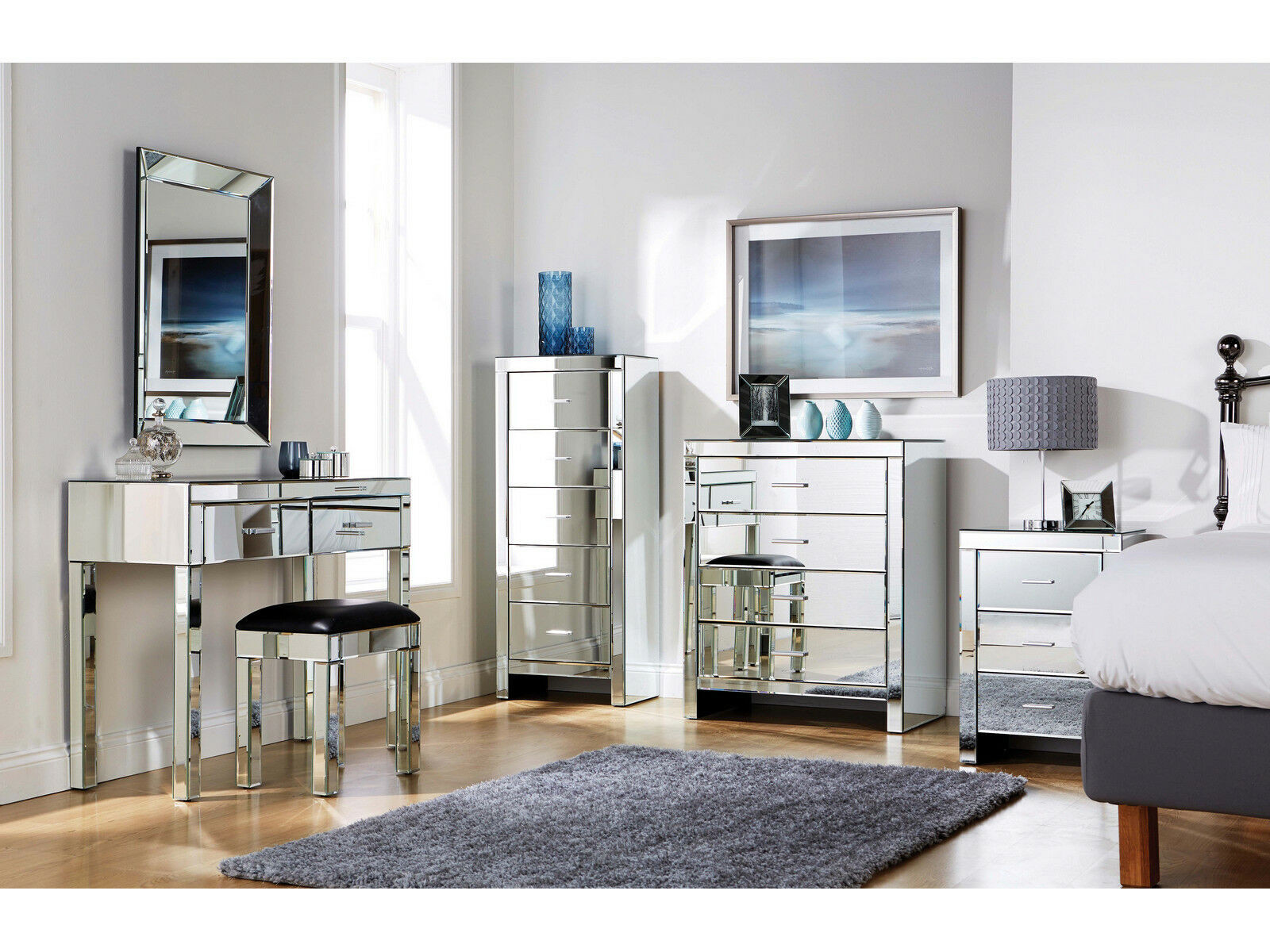 Mirrored Furniture Bedroom Collection Glass Chest Drawers Dressing Table Range