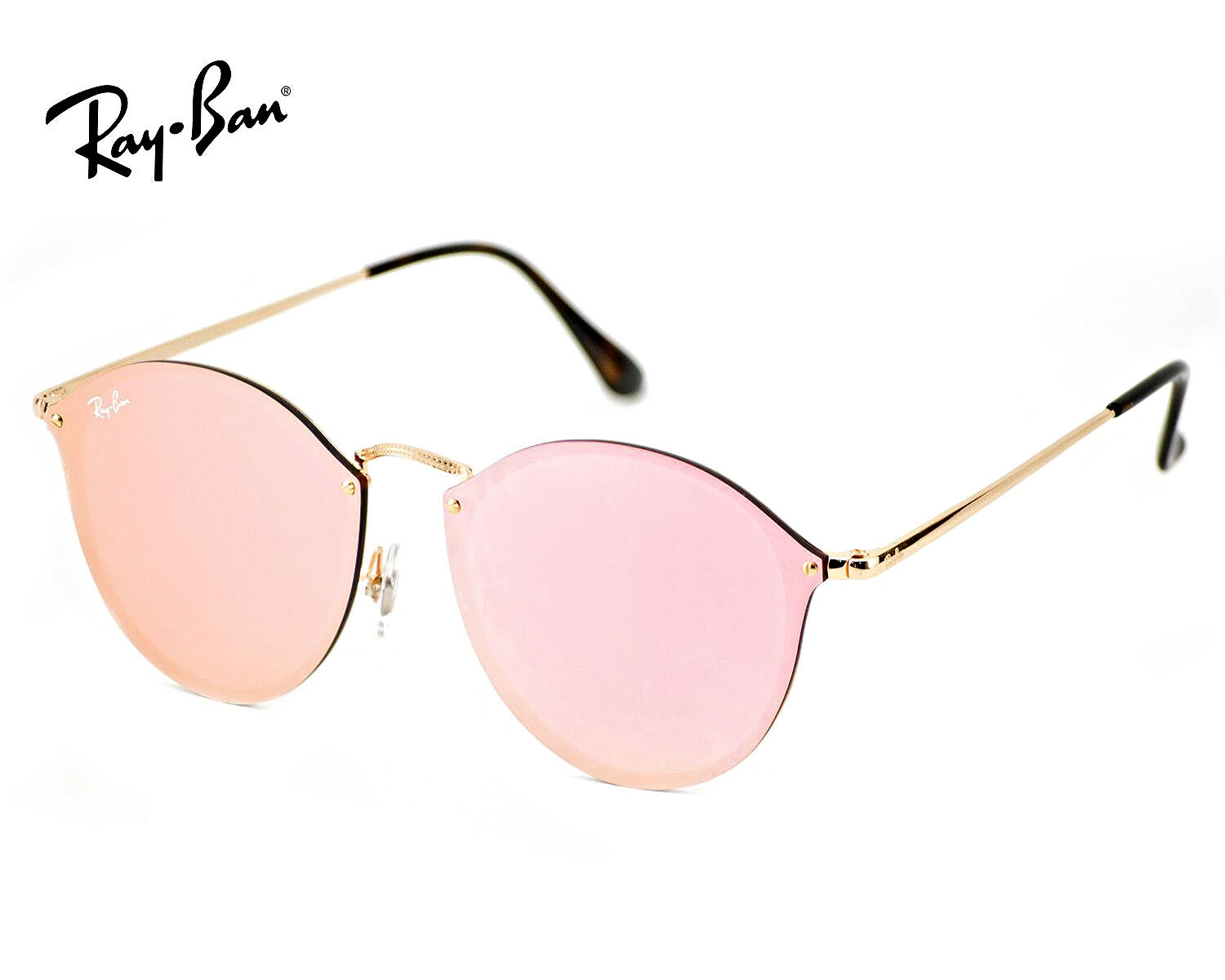 RAY-BAN RB3574N BLAZE Round 001/E4 Gold Frame/Pink Mirror Lenses ...