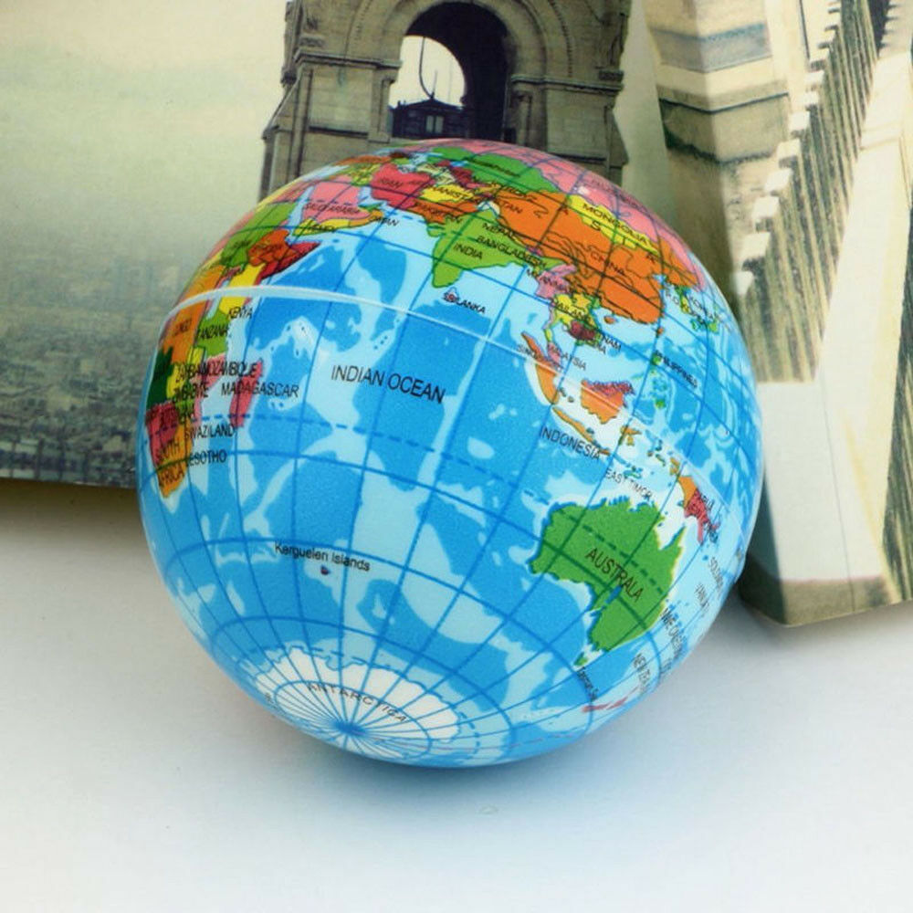 mini funny world map foam earth globe stress bouncy ball toy geography atlas picclick uk. Black Bedroom Furniture Sets. Home Design Ideas