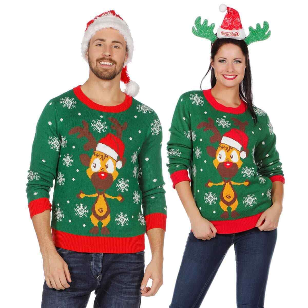 weihnachts pullover rentier ugly christmas sweater pulli. Black Bedroom Furniture Sets. Home Design Ideas