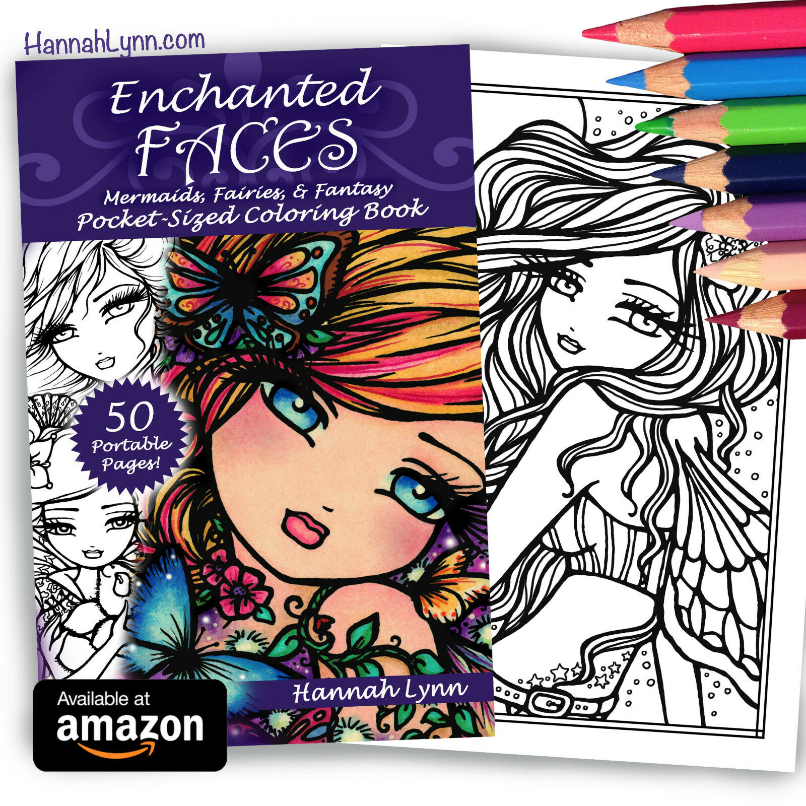 NEW Fantasy Adult Enchanted Faces Coloring Book Fairy Mermaid Hannah Lynn Art