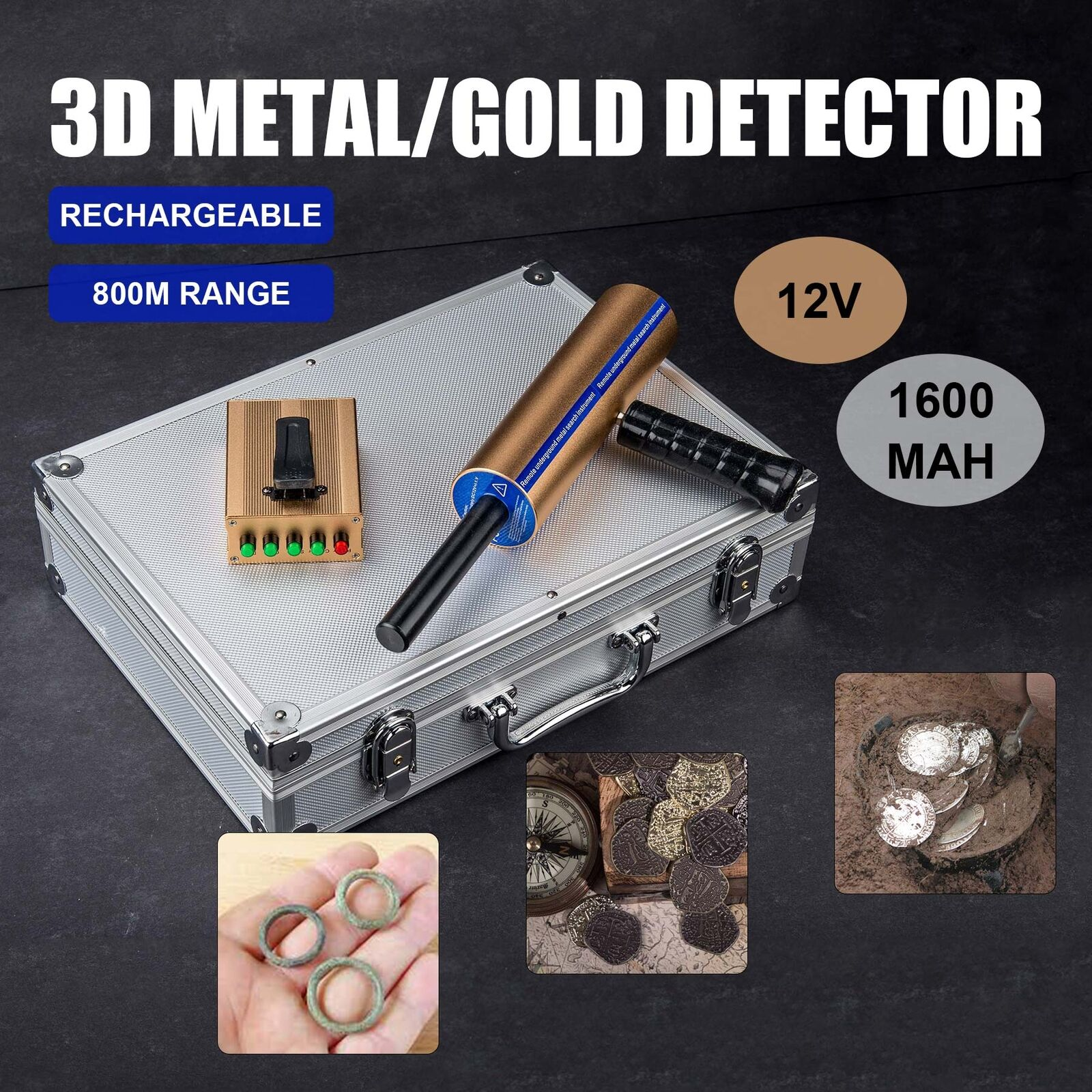Long Range Gem Metal Detector Underground Gold Silver Hunter Finder Professional Detectors Detecting 2625 Feet 1 Of 10only 4 Available