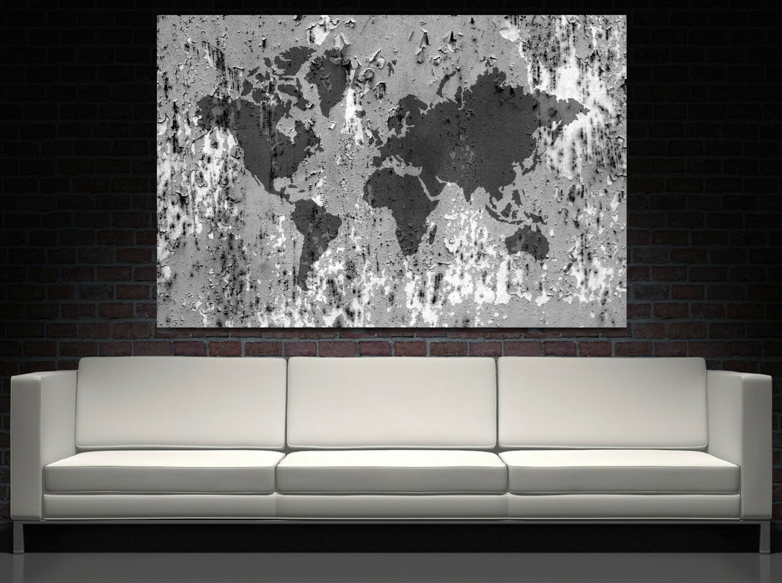xxl bild 160x100x5 loft design leinwand weltkarte auf metall grau gem lde ikea eur 119 00. Black Bedroom Furniture Sets. Home Design Ideas