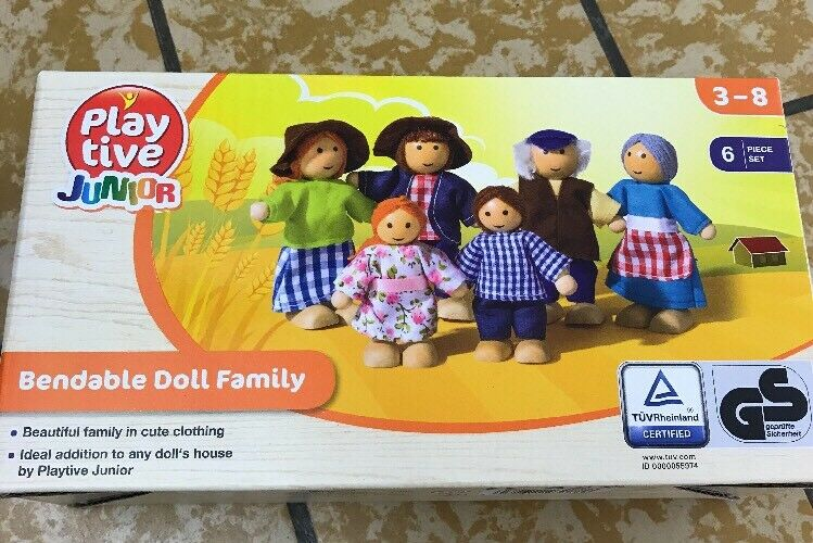 PLAYTIVE DOLLS HOUSE FURNITURE Bendable Doll Family 6 1 Of 1Only 0  Available ...