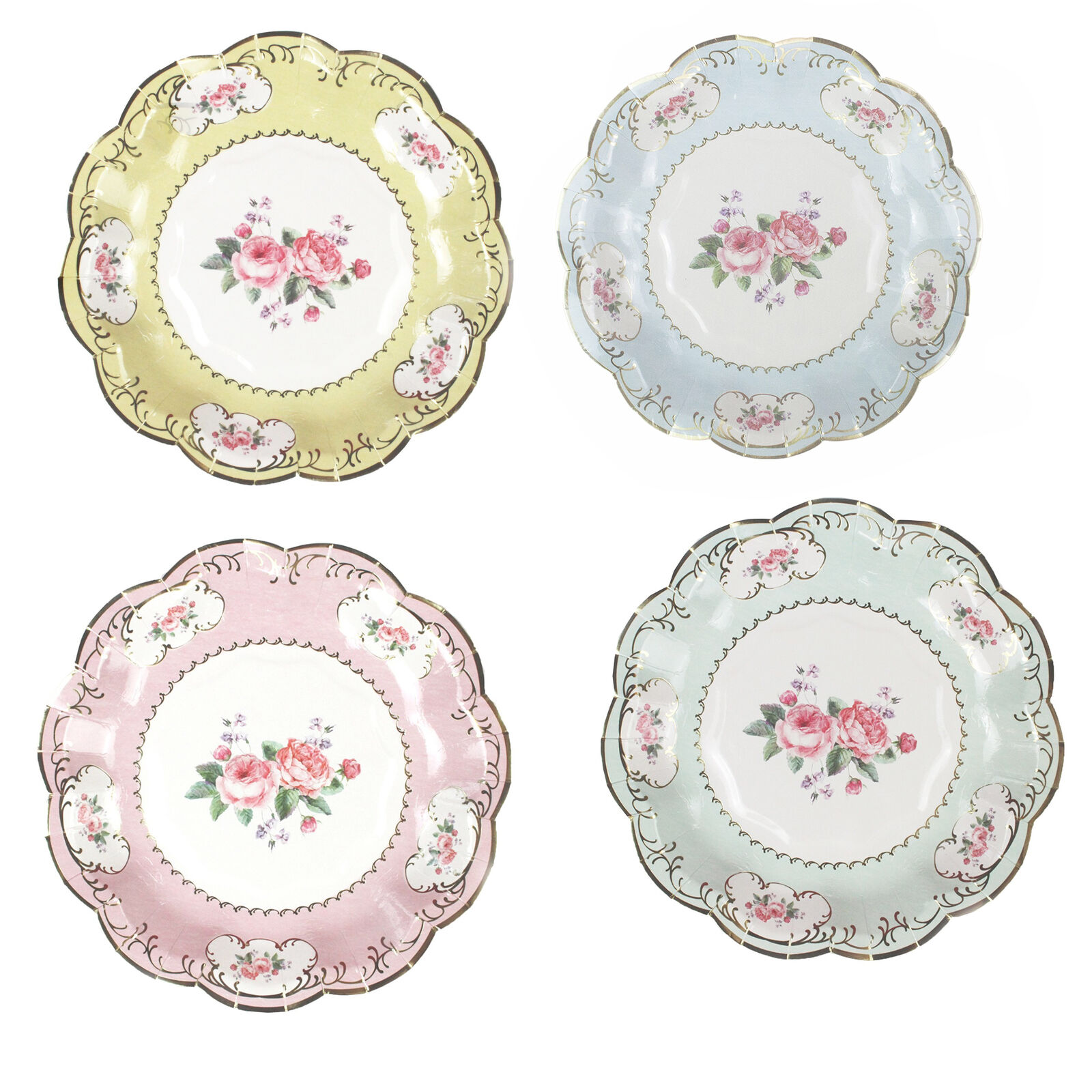 12 LUXURY VINTAGE Style Afternoon Tea Party Paper Small 18cm Plates ...