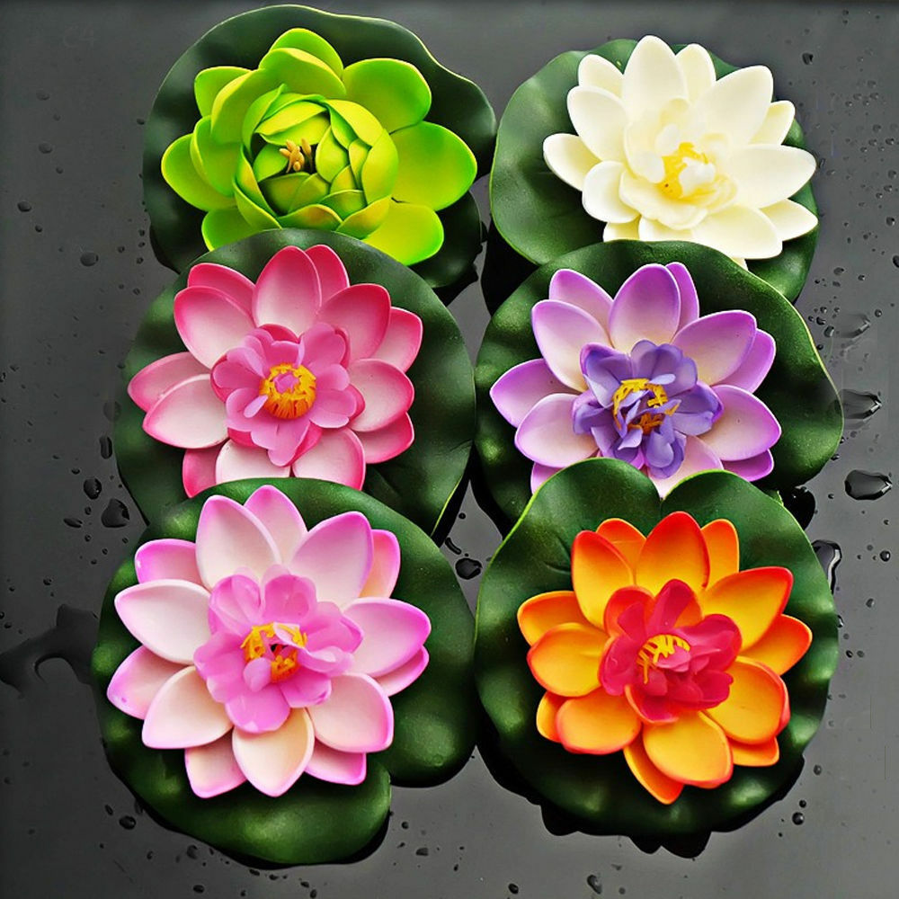 10cm Artificial Lotus Water Lily Floating Flower Pond Fish Tank