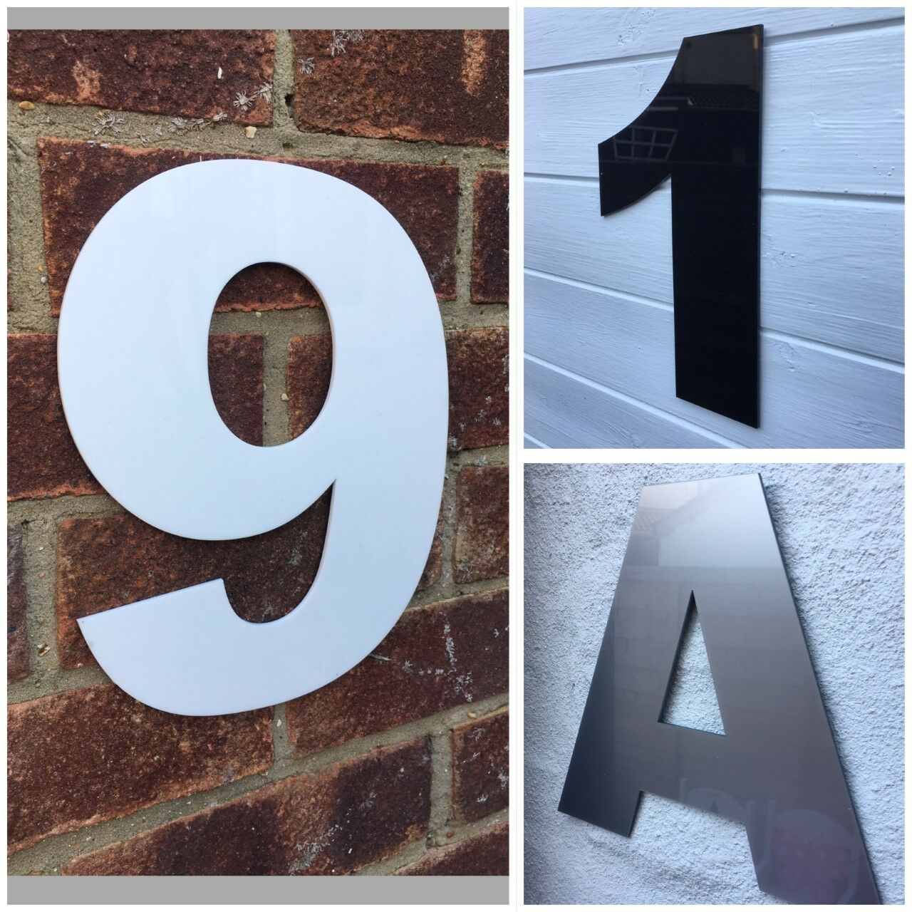 Large modern house numbers 250mm door numbers aluminium effect large number 1 of 5 see more
