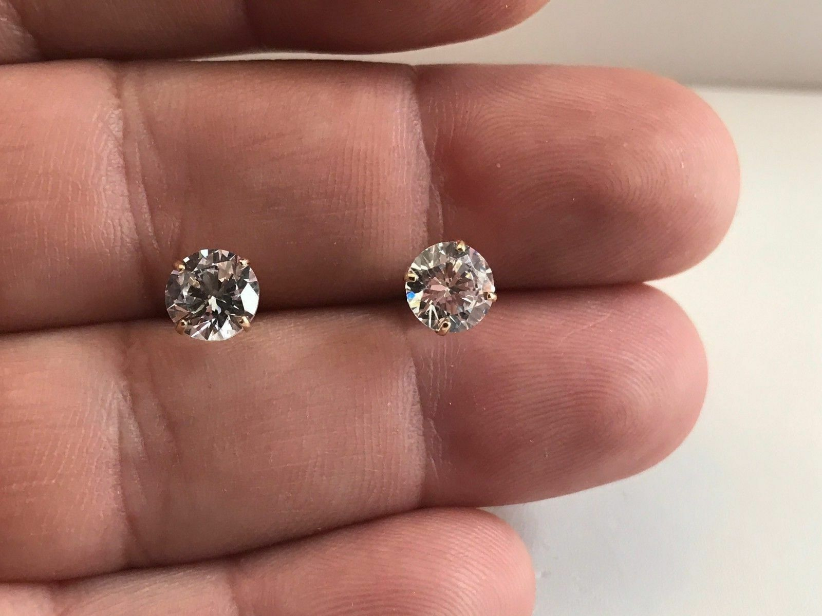Earrings W Round Flawless Lab Diamonds 1 Of 2free Shipping