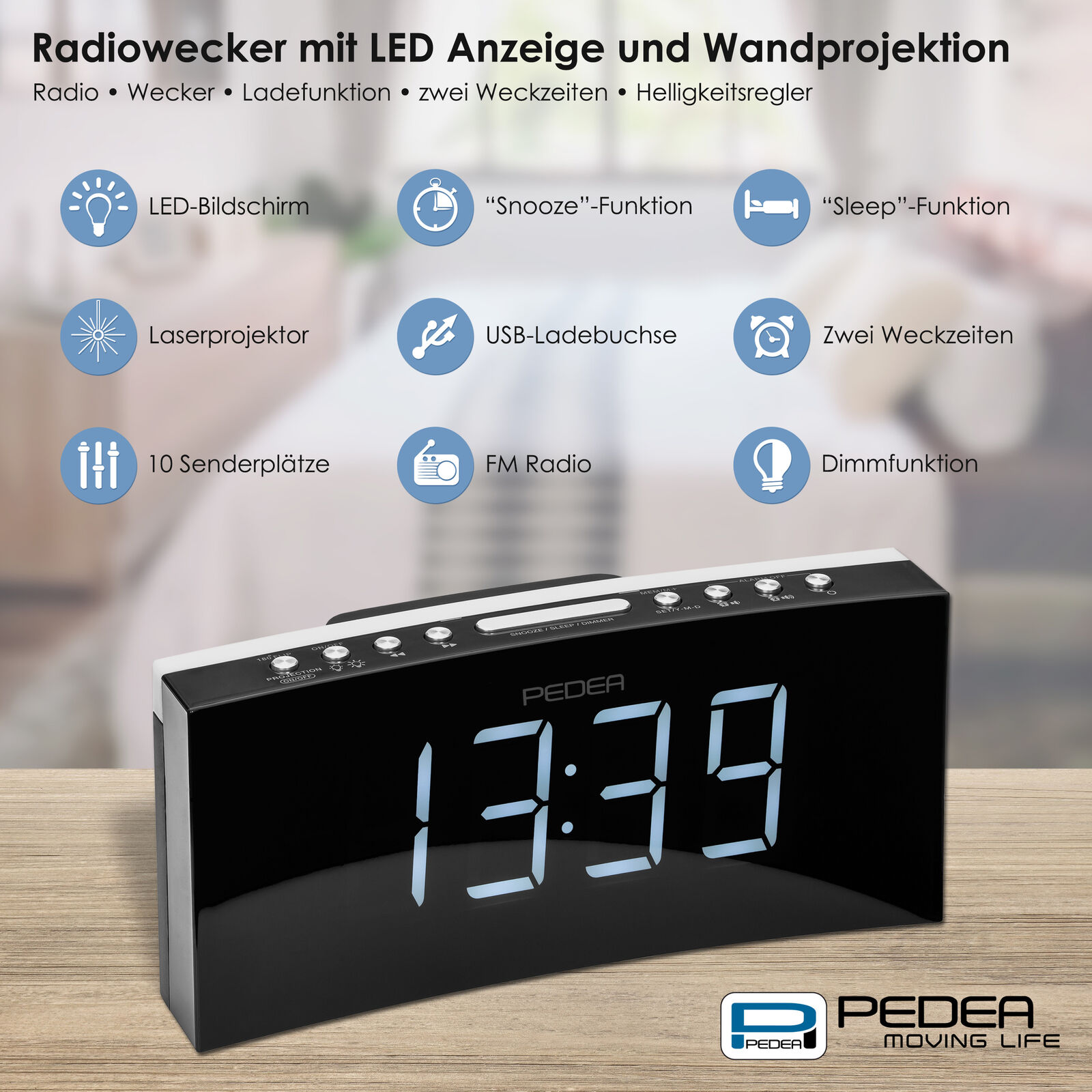 radiowecker uhrenradio mit projektion 2 weckzeiten display dimmbar sleep snooze eur 29 90. Black Bedroom Furniture Sets. Home Design Ideas