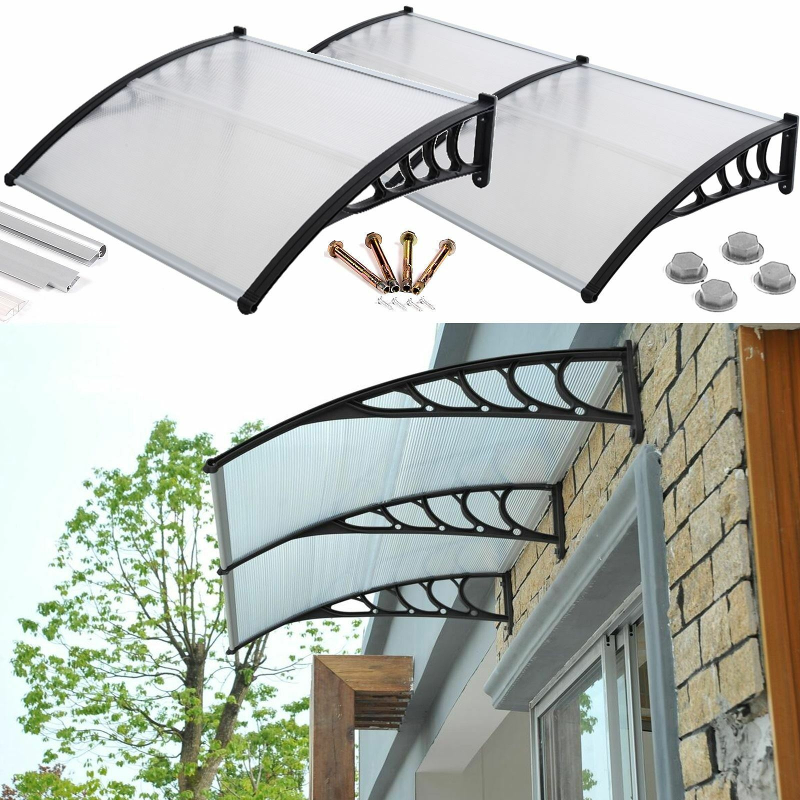 Front Door Canopy Porch Rain Protector Awning Lean To Roof Shelter Shade  Cover 1 Sur 1 Voir Plus