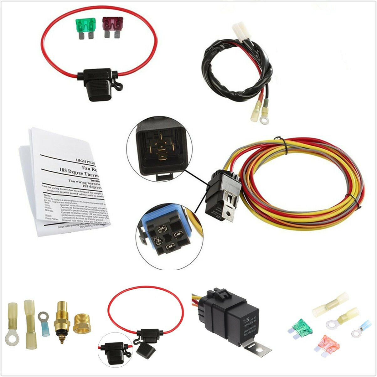 Autos Single Electric Engine Cooling Fan Wiring Harness Install Kit Auto 40amp Relay 1 Of 12free Shipping