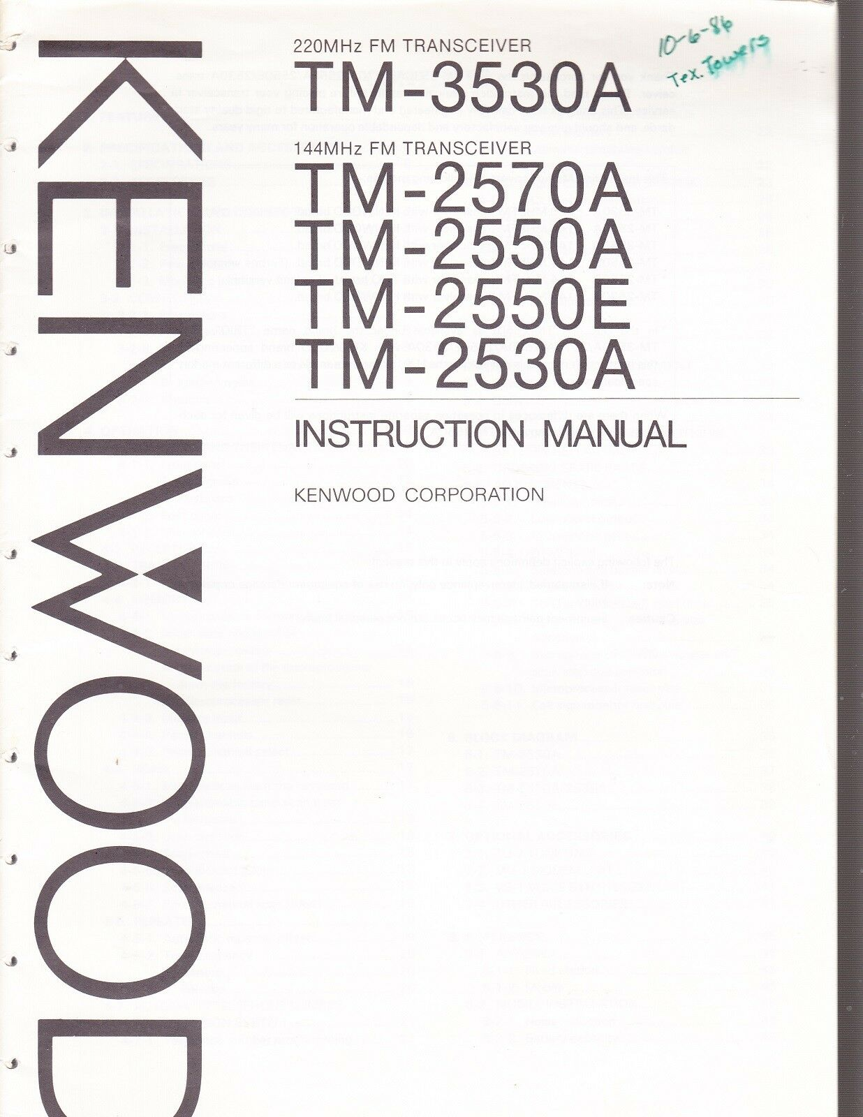 KENWOOD INSTRUCTION MANUAL for a MODEL TM-3530A 220 MHz FM TRANSCEIVER 1 of  1Only 1 available ...
