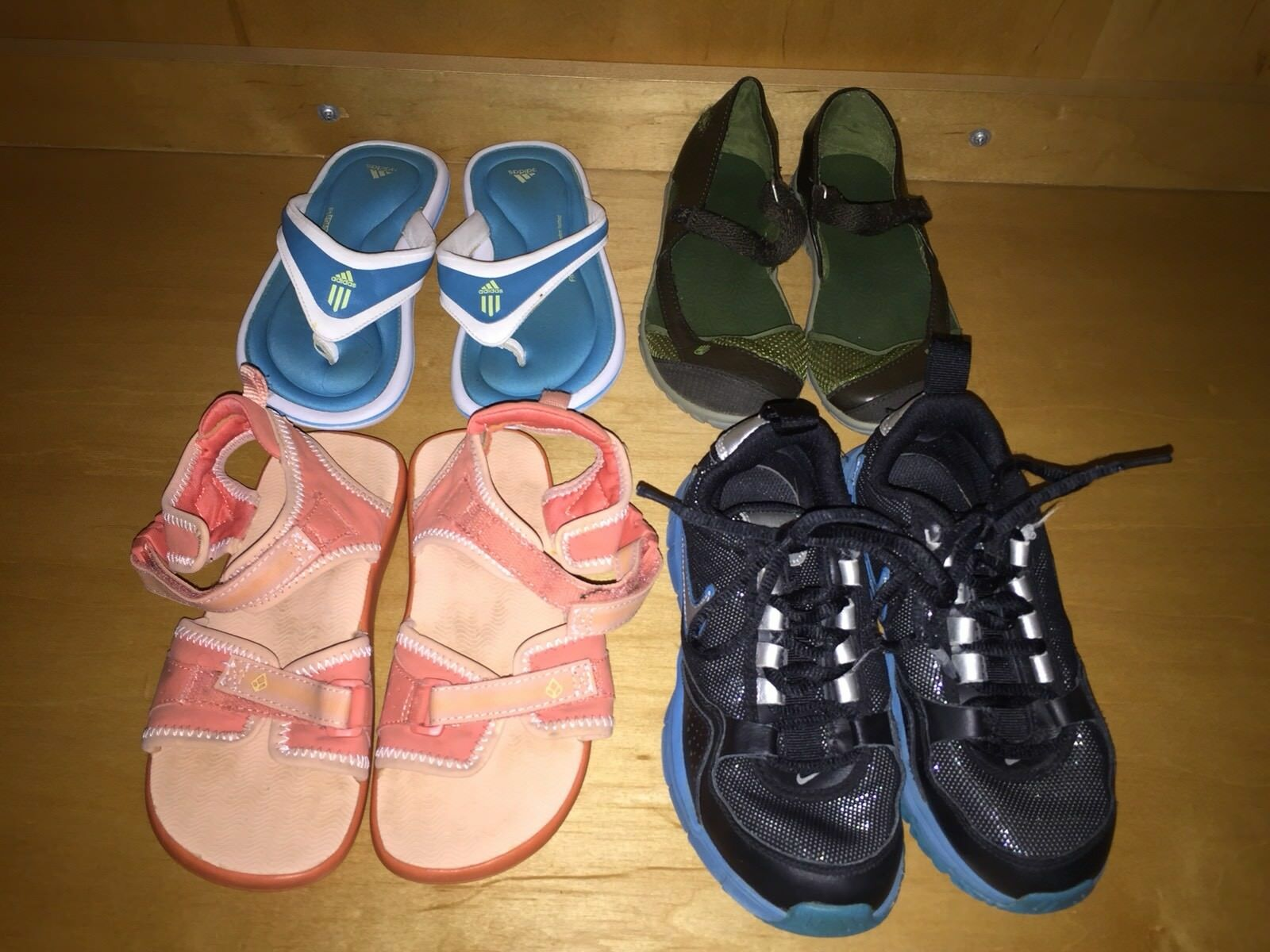 b69ea77ba7dd Lot 4 Girls Shoes Sandals 1 13.5 Teva Nike Adidas Reef Mary Jane Flops Pink  Blue 1 of 6Only 1 available ...