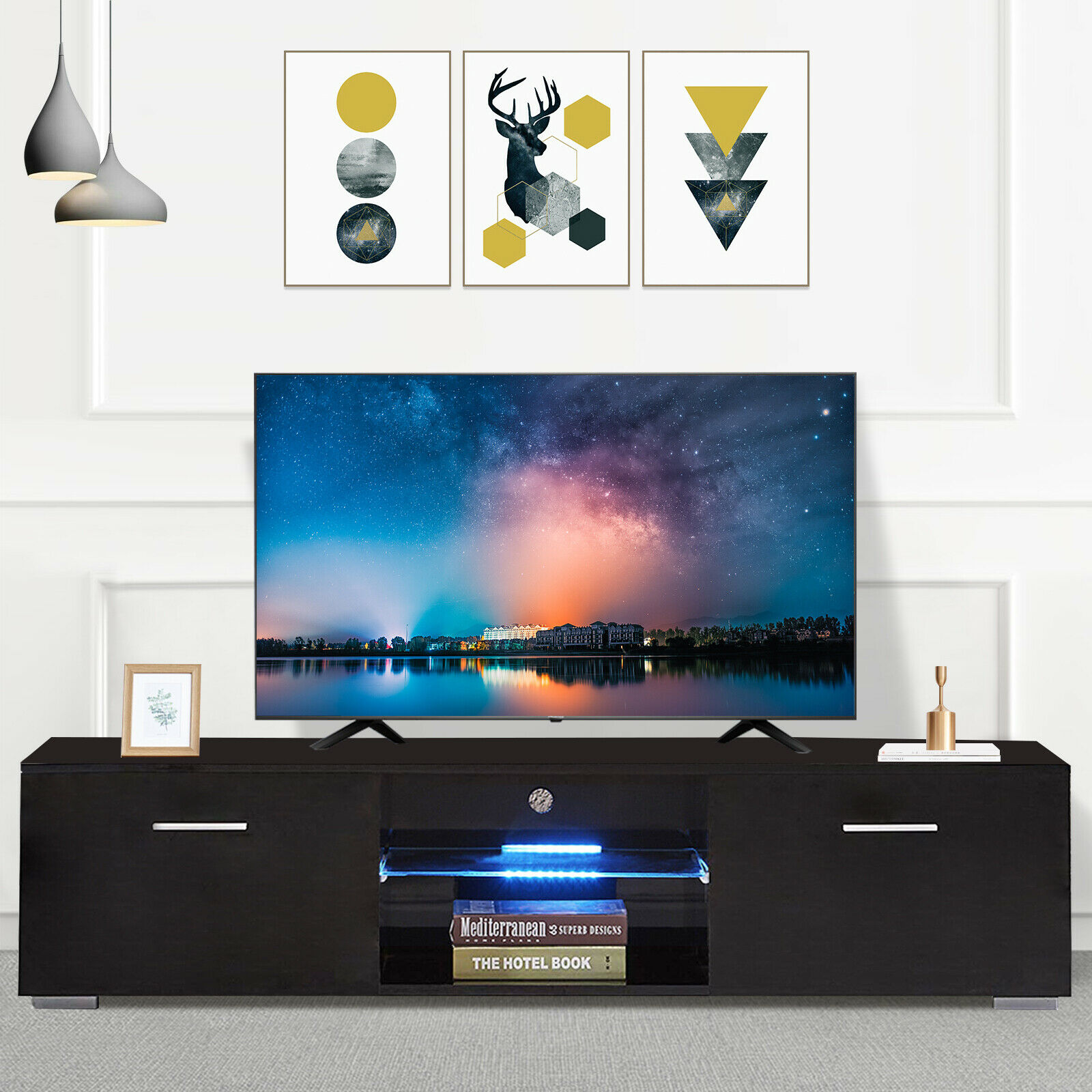 Superbe High Gloss 63u0027u0027 Black LED TV Stand Cabinet Console With Shelves 2 Drawers