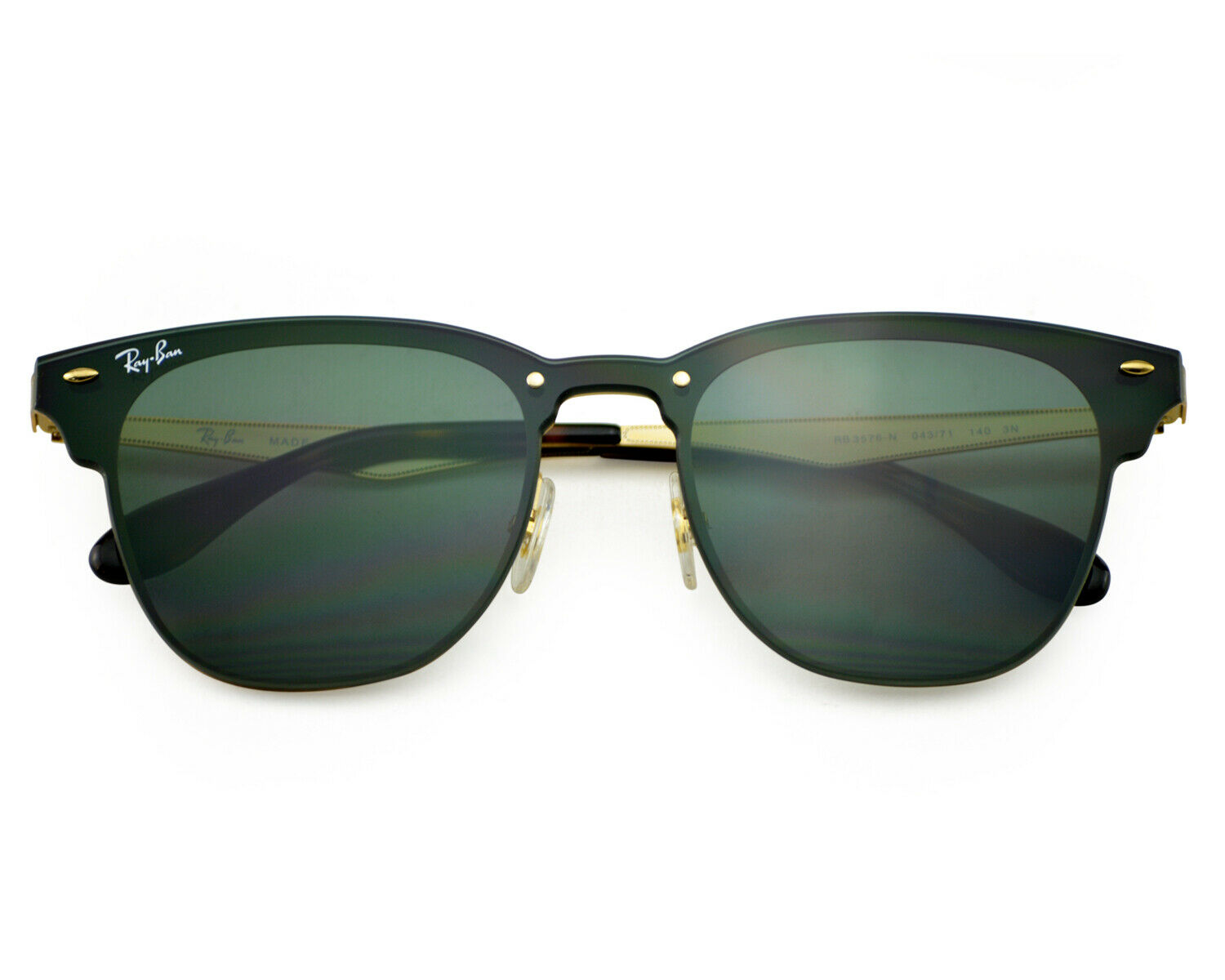 RAY BAN BLAZE Clubmaster 043/71 Gold Frame/Green Classic Lense ...