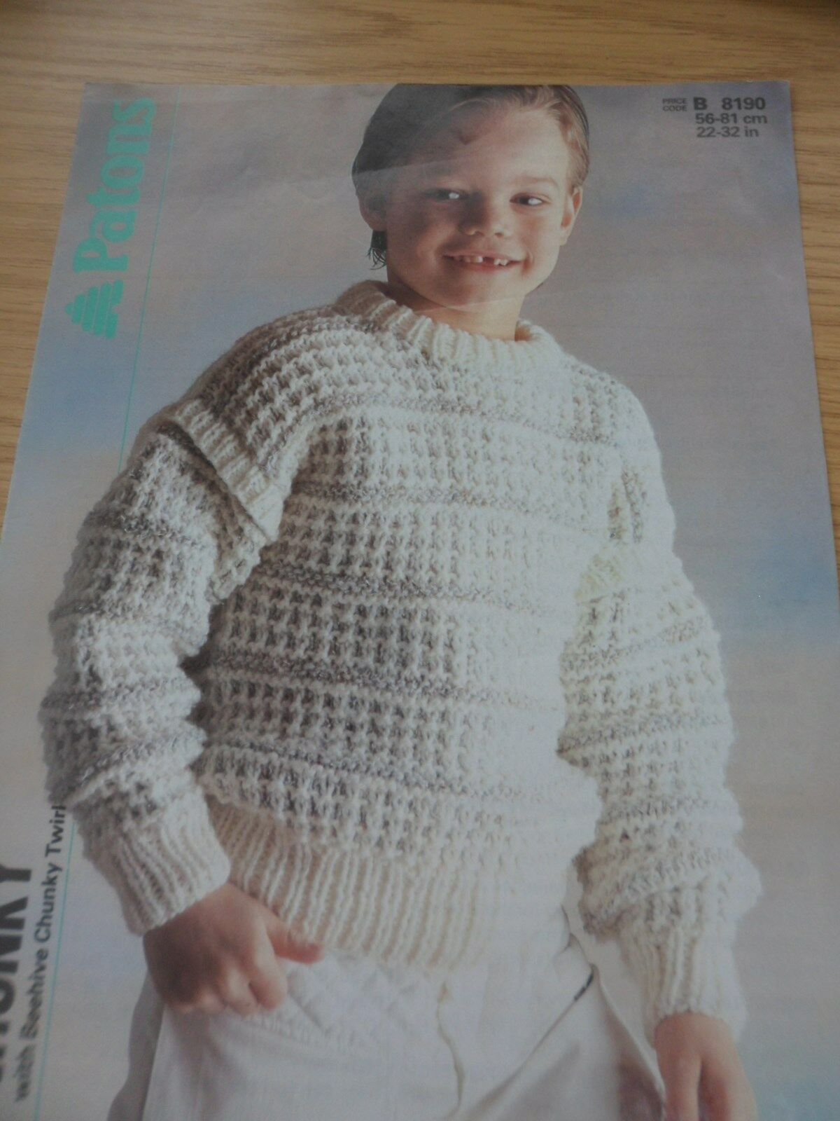 VINTAGE 1985 1980S PATONS CHUNKY KNITTING PATTERN BOYS GIRLS SWEATER ...