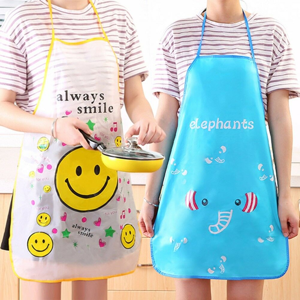 HOT WOMEN KIDS Cartoon Kitchen Restaurant Waterproof PVC Apron ...