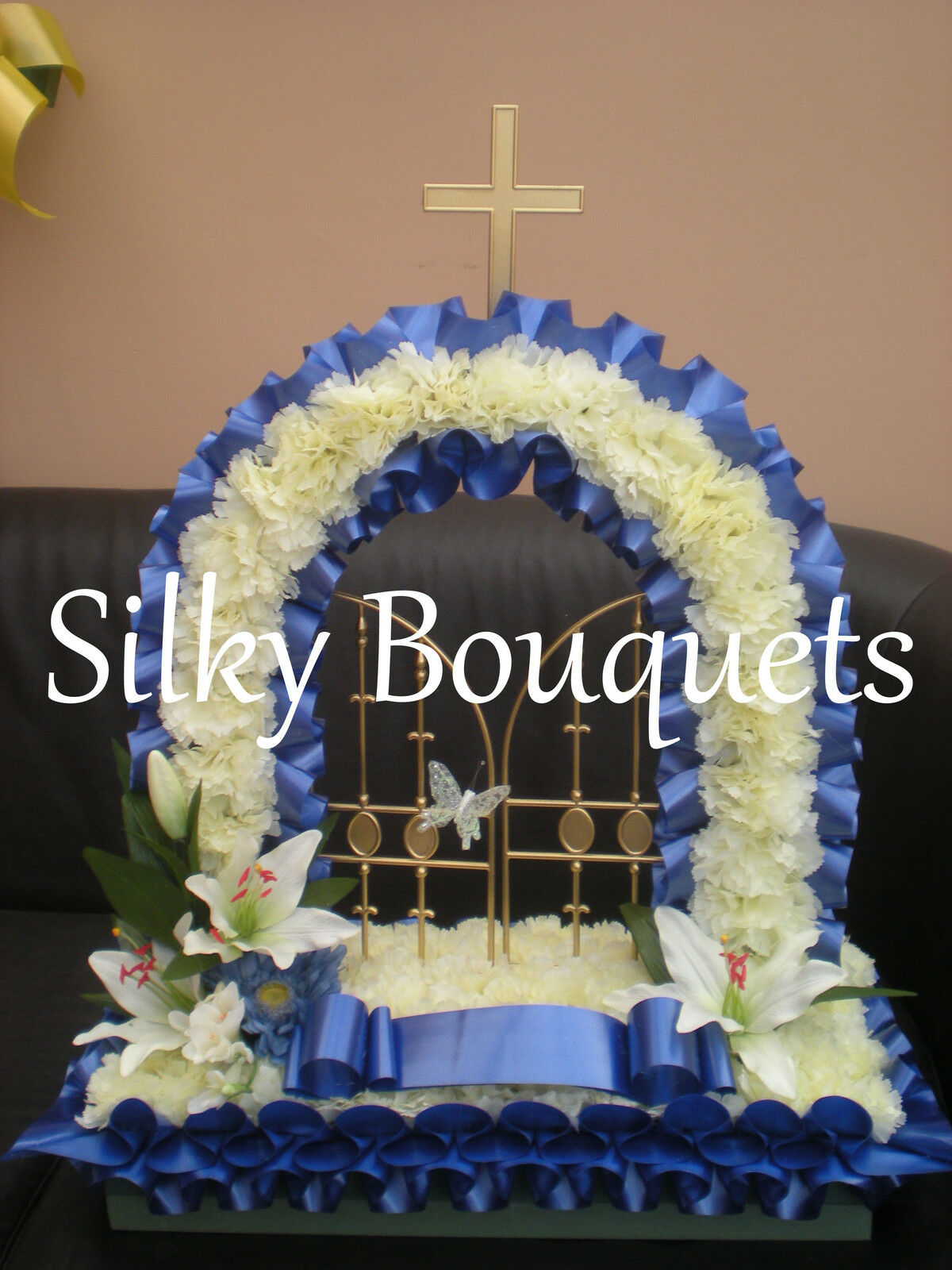 Artificial silk funeral flowers gates of heaven wreath memorial artificial silk funeral flowers gates of heaven wreath memorial tribute dad mum 1 of 2free shipping izmirmasajfo