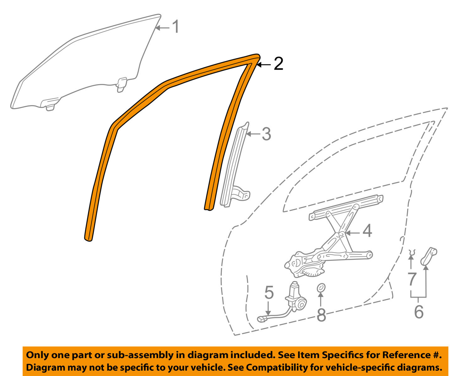 Pontiac Gm Oem 03 08 Vibe Front Door Run Channel Left 88974658 Engine Diagram 1 Of 2 See More
