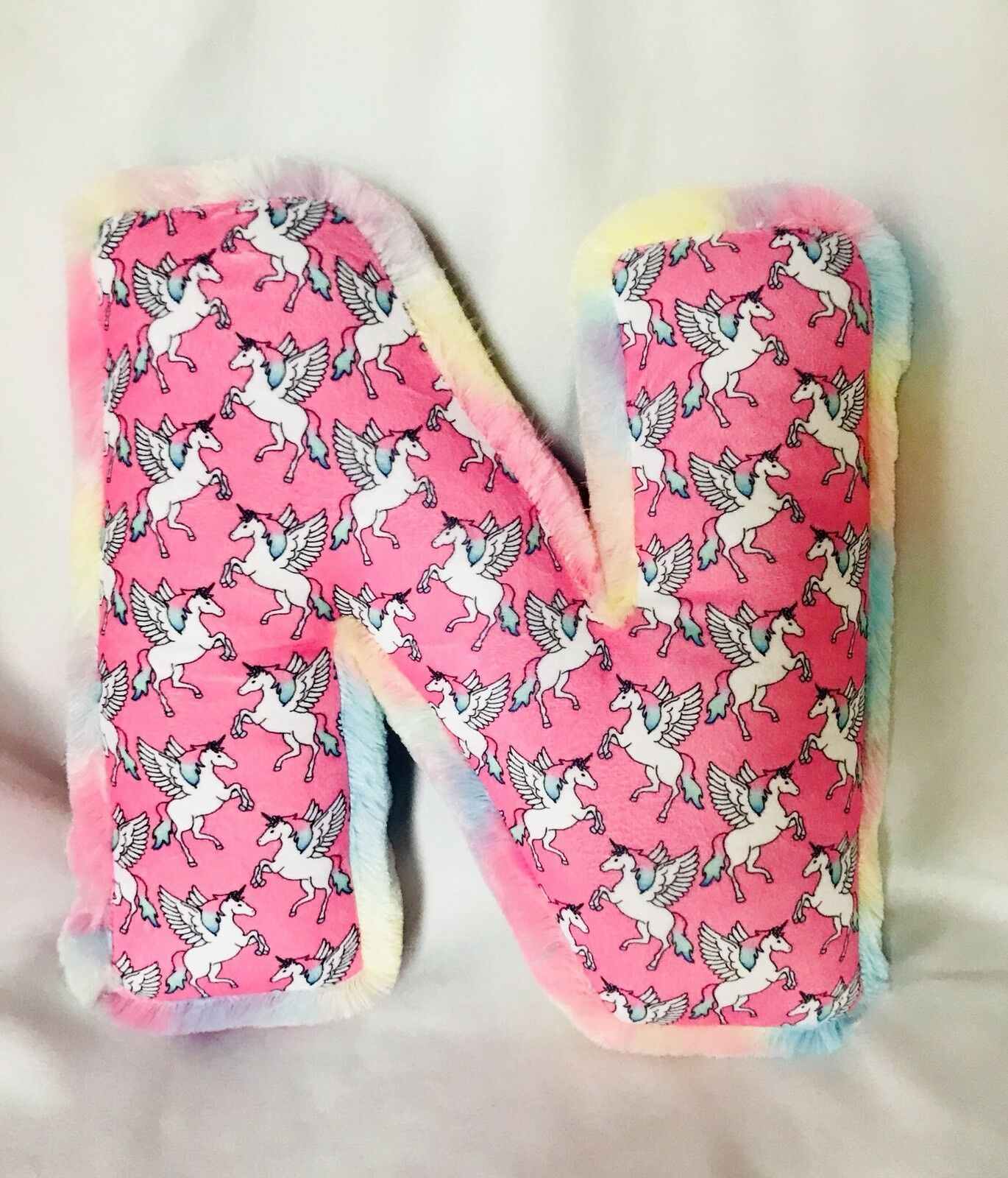 """NEW JUSTICE PILLOW Letter N Unicorns Tie Dye 14"""" Tall Bed Decorative ..."""