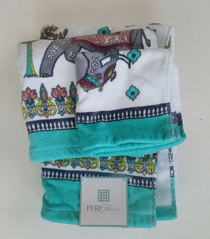 Peri Home 3 pc Elephant Bath Towel Set WashCloth Bathroom Floral New 1 of 4Only 1 available See More