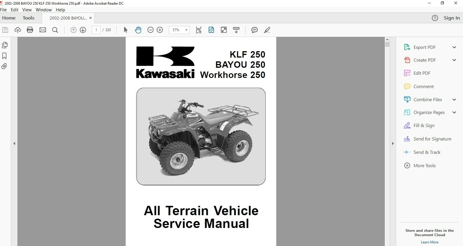 Download Service Manual 2003 2009 Kawasaki Bayou 250 Klf 250 1 of 4FREE  Shipping ...